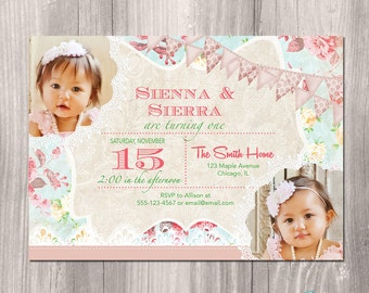 twins birthday invitation for twin girls vintage floral