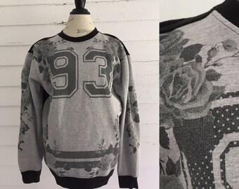 Vintage 1993 Gray FLORAL Sweatshirt