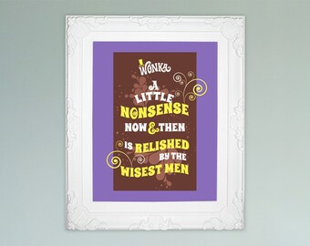 Willy Wonka quotes, images for 8x10 picture frames Willy Wonka wall art poster Willy Wonka birthday party decorations PDF jpeg files PuRPLe