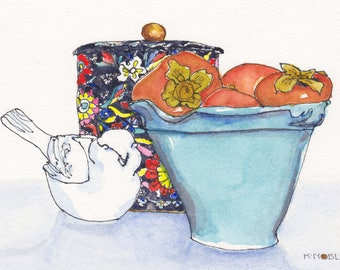 Persimmons in a Blue Bowl Watercolor Painting