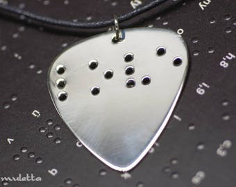 Braille Jewelry - guitar pick necklace - LOVE - love gifts -valentines gifts for guys and for girls