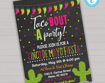 Cinco de Mayo Invitation Cinco de Mayo Invite Cactus Invitation Cinco de Mayo Party Editable Invitation Fiesta Invitation Download