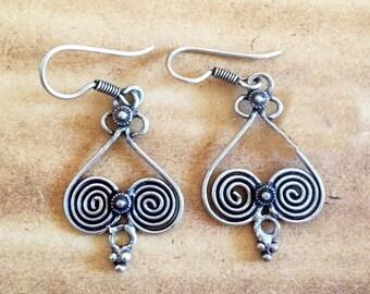 Celtic earrings,Sterling silver heart earrings,925 Sterling Silver,tribal earring,wedding gift,birthday present,dangle ethnic Indian Jewelry