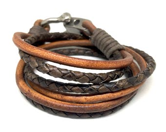 Mens Leather Bracelet, Anniversary Gift for Him, Braided Bracelet, Husband Gift, Men's Leather Jewelry, Jewelry for Him, Valentines Gift Him
