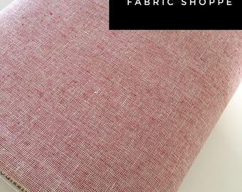 Essex Linen Homespun, Linen Blend fabric, Essex Yarn Dyed, Apparel Fabric, Dress fabric, Yarn Dyed fabric, Essex Homespun in Scarlet