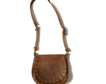 Vintage 70s Braided Leather Cross Body Purse Bag