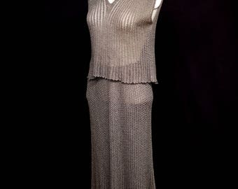 Original vintage 1970s metallic knit two piece 1920s style dress - Mary Farrin - Free Shipping