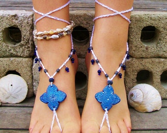 Midnight Blue beaded polymer clay barefoot sandals hand painted soleless sandals beach footless sandals boho hippie wedding bridal jewelry