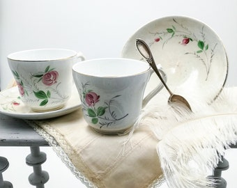 Antique Italian cups and saucers, tea stained, Società Ceramica Italiana, Laveno, SCI, hand painted roses, 1800's, vintage italian bowls