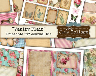 Vainity Flair Printable Journal Kit, 5x7 Journal Pages, Printable Journal Pages, Scrapbooking, Decoupage, Digital Journal Kit, Junk Journal