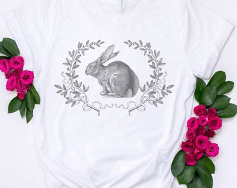 Bunny T Shirt, Vintage Style with Laurel Wreath