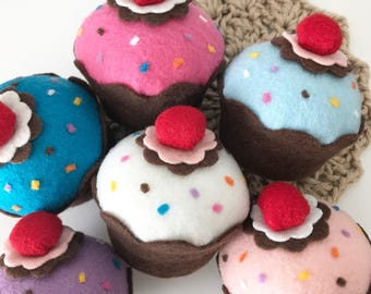 Felt Cupcake w/ Sprinkles (Your Color Choice) -  Party Decorations, Play Food, Favors, Centerpiece, Kids Room, Home Decor, Birthdays, Gifts