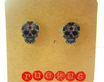 Day of the Dead Stud Earrings, Skull Earrings, Day of the Jewelry, Skull Earrings, Dia De Los Muertos Earrings, Dia De Los Muertos Jewelry