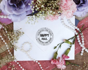 Happy Mail Stamp, Personalized, Custom Return Address, Rubber Stamp, Customized Happy Mail, Round Address Stamper --10407-HR45-000