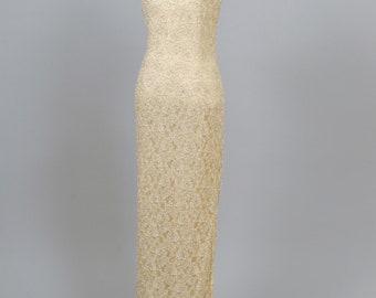 1970's Ecru Beaded Vintage Wedding Gown
