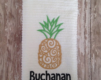 Personalized embroidered pineapple kitchen or bathroom towel