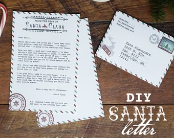 Santa letterhead etsy santa letter santa claus letter santa stationary add your own text letter spiritdancerdesigns Gallery