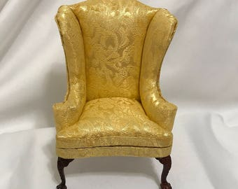 Dollhouse Miniature 1u201d Scale Bespaq Wingback Chair