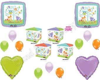 "NEW! WOODLAND FRIENDS ""Cubez"" Baby Shower Balloons Decoration Supplies Forest Animals Fox Owl"