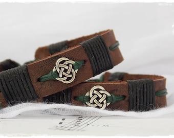 Celtic Leather Bracelet, Leather Men's Bracelet, Men's Wristband, Leather Anniversary Bracelet, Nordic Love Knot Bracelet, Leather Cuff