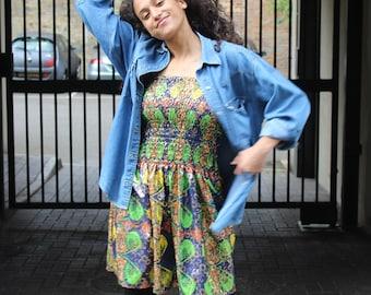 African Dress - Fatou Dress - Summer dress - African Wax Print - Ankara - Festival Clothing - Dashiki dress - Gold Dress