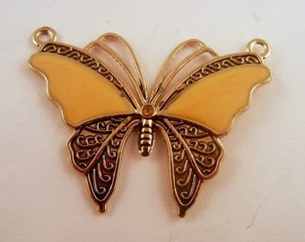 Butterfly Pendant yellow and silver