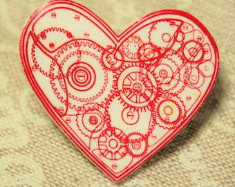 Unique clockwork heart lapel pin