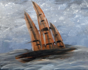 Hope-Acrylic, painting, abstract, ship, grey, blue. Brown