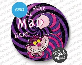 """3"""" Cheshire Cat Alice in Wonderland Glitter Button"""