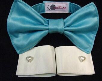 Blue Ruff Cuff Set with Dog Bow Tie