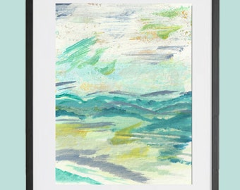 Statement Art, Mixed Media Abstract Landscape, Bold Colors,Mountainscape