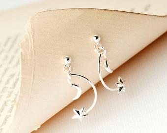 Crescent Moon Star Drop Earrings, Silver Moon and Star Earrings, Celestial Earrings, Moon & Star Stud Earrings, Moon Jewellery, Star Jewelry