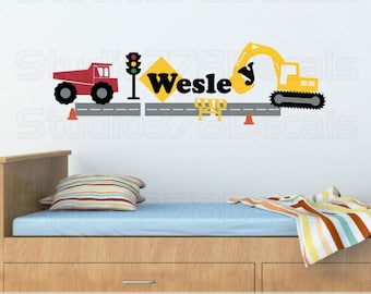 Construction Set Vinyl Wall Decal - Kids Transportation Decals - Dump Truck and Excavator - Personalized Name - Boy Nursery Wall Decals