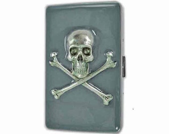 Skull and Crossbones Cigarette Case Inlaid in Hand Painted Enamel Gray Opaque Metal Wallet with Personalized and Color Options
