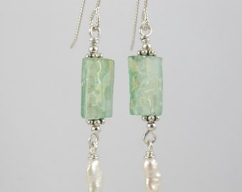 ancient Roman glass sterling and pearl drop earrings