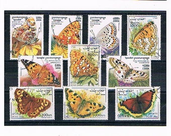 Butterfly Postage Stamps | pretty butterfly postal stamp selection | afghanistan & cambodia stamps for craft, card toppers, stamp collection