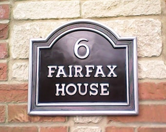 Vintage style Large Classic house name plate. Cold cast Pewter & Black. Have up to 18 letters and motif of your choice.