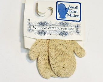 Wimpole Street Creations Pair Small Beige Knit Mittens, Vintage Craft Embellishments, Christmas Ornament, Sewing Craft Supply itsyourcountry