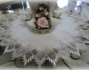 "24""  Large Doily Neutral Earth Tones European Lace Table Topper Scarf"