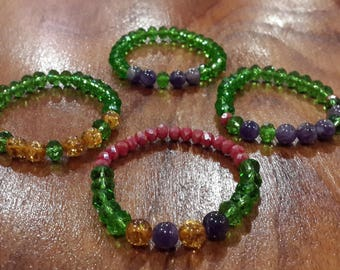 4 PC Baltic Amber & Amethyst bracelet natural stone christmas gifts noel pink green crystal  beads jewelry for woman Natural stone 8mm