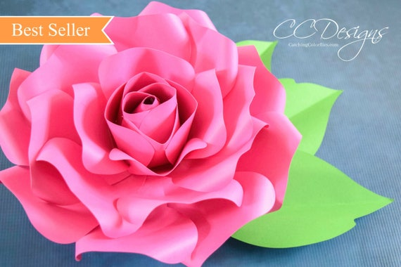 Rose flower paper ukrandiffusion paper roses giant paper rose template printable pdf flower mightylinksfo