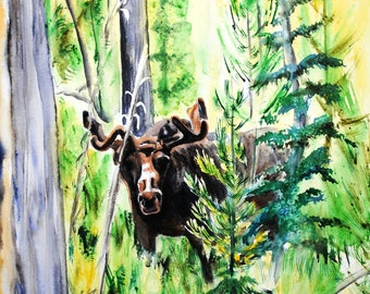 Original animal painting, original watercolor painting, animal painting, original watercolor, animal art, moose, moose wall art, moose art