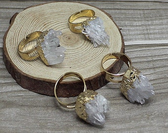 Clear Crystal Quartz Ring // Crystal Quartz Gold Electroplated Round Rings // Natural Gemstone Ring // Clear Gemstone Statement Ring R085