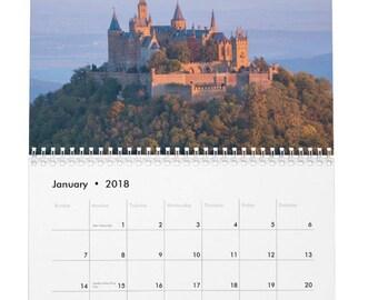 2018 Castles Calendar, 2018 Desk Calendar, Calendar 2018, Desktop Calendar, Castle Photos, Castle Print, Gift for Her, Travel Gift