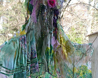 Wonderful Art To Wear Forest Woodland Mori Hippie Emerald  L Dress  Silks Antique Details Undine QUEEN of the FOREST Fairy Boho Tattered