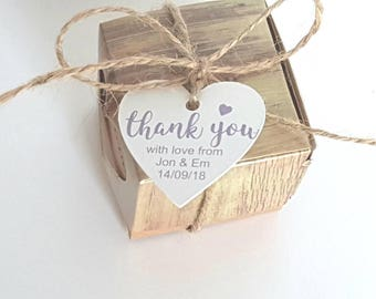 20 heart shaped gift tags for wedding favours. personalised. Thank you.