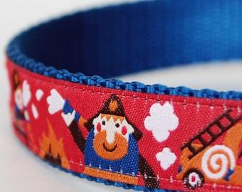 Firemen on the Go Dog Collar, Adjustable, Ribbon Dog Collar