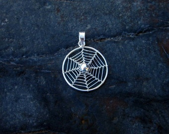 Sterling Silver Spiderweb Pendant - #440