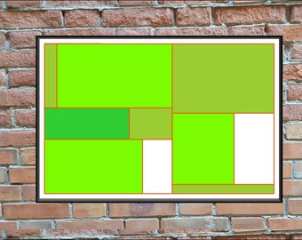 Contemporary Art Print,  20x30 inch Poster Size on White Paper,  Forest Green Squares,  #20x30_020
