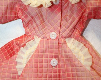 Vintage doll dress; 1950's card party; hostess; coffee klatch; red dress; period piece